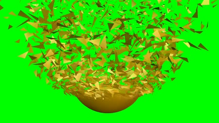 bitcoin accepted : The golden egg is falling, breaking into shards. Bitcoins are formed from golden shards. Animation with flying bitcoins on green screen. Stock Footage