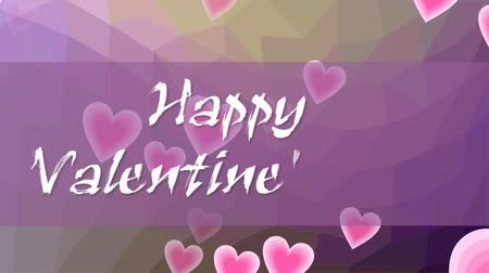 curto : Happy Valentines day, animated inscription in grunge design. Letters written with chalk on purple background with flying pink hearts. Stock Footage