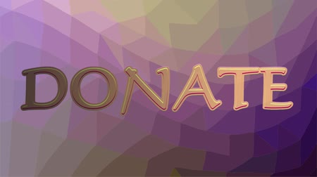 способствовать : Donate banner with flying pink hearts and golden inscription. Polygonal background in purple color.