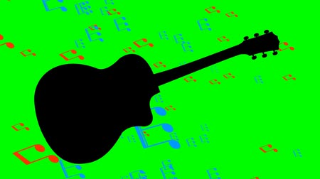 půltón : Black guitar silhouette and flying colored musical notes in the background of musical instrument. Animation on green screen