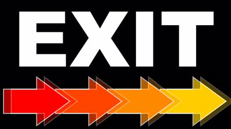 flee : Exit - white title with arrows in fiery colors, red, orange, yellow. Arrows flying to right. Animated navigation on black background. Stock Footage