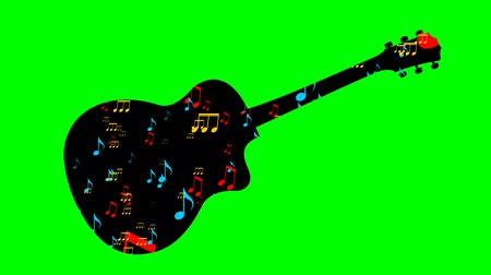 guitarrista : Black guitar silhouette and flying colored musical notes within musical instrument shape. Animation on green screen