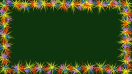 dark green : Animated video frame with small multicolored rotating stars on the border. Small flowers on dark green background, copry space, spring thema, Full HD video 1920x1080