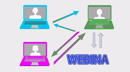 apple sign : Webinar banner animation with multicolored laptops, arrows, join button and hand cursor, on line learning, online conference, e-learning advertising Stock Footage