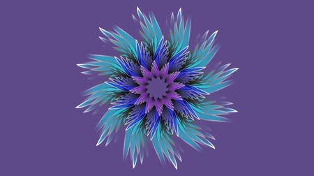 dimension : 3d blue mandala rotating on ultraviolet background.