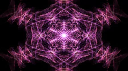 duševní : Live red, orange and purple fractal mandala, video color changing tunnel on black background. Animated symmetric patterns for spiritual and meditation exercises.