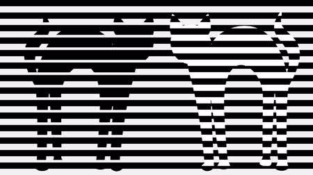 opção : Two cats in monochrome animation. Stripped black and white background with cat silhouettes. Black tomcat and stripped cat.