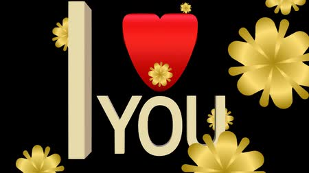 i love you : I love you banner composed from moving letters, red heart and falling golden abstract flowers Stock Footage