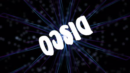 открывашка : Disco advertisement banner with rotating inscription on background with multicolored rays and blurry bokeh lights, laser show footage
