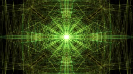 hipnoza : Green magic light fractal patterns on black background. Live mandala for spiritual exersises. Wideo