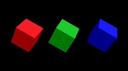 title : RGB cubes, 3d cubes rotating on top, green cube rotating isolated and zooming in green screen