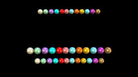 parel : Beads animation, multicolored beads moving in rows on black background. 3d movie video background