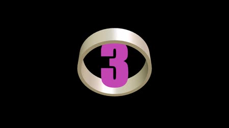 countdown leader : Countdown from five to one, colorful numbers in rotating ring, 3d animation