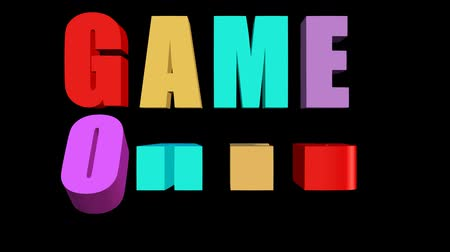 playstation : Game over outro with multicolored animated letters on black background, 3d animation on black background