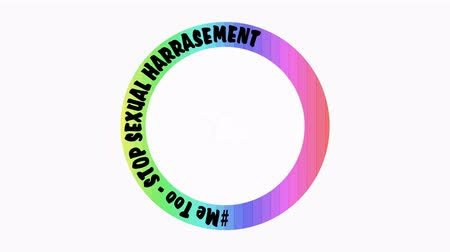 haklar : Me too campaigne logo with rainbow circle, title Stop Sexual Harrasement, black female head profile Stok Video