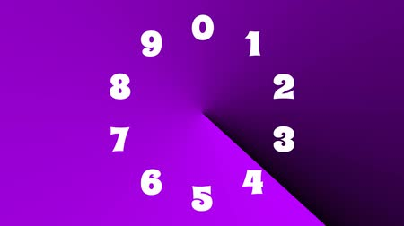 countdown leader : Countdown with color changing effect, 10 seconds, multicolored gradient rotating at a 360 grad angle, white numbers showing seconds