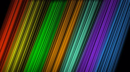 interseção : Rainbow slanted strips moving on blackg background, aimated video background, oblique color beams in vivid spectrum colors