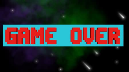 újra : Game over, play again outro, pixelated lettering, rotating horizontal block, 3d animation on animated space background with stars, nebula and meteorits Stock mozgókép