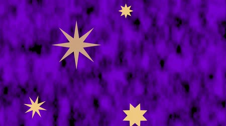 nativo americano : Star shapes moving on purple blurry textured animated background. One of stars zooming and changing into background