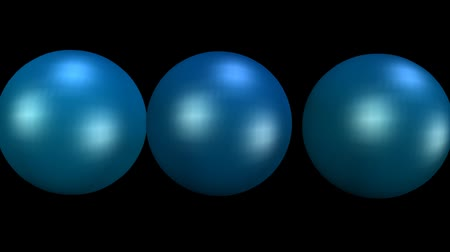 endless gold : Three metallic balls in dark blue design, creative motion, vfx animation of spheres, seamless video