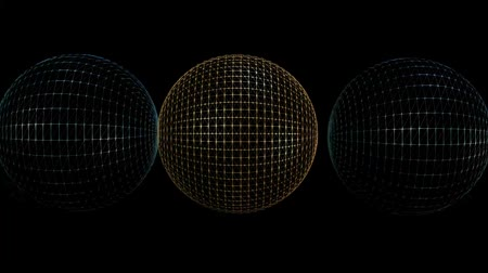 backround : Metallic wireframe balls in abstract motion, fantasy computer animation, gold sphere and dark blue spheres