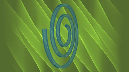 ferde : Abstract 3d video background with blue spiral moving on green abstract area. Blue spiral from transparent material. Ecology animation in green and blue.