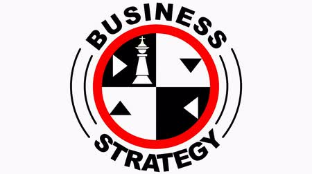 conquest : Business strategy animated emblem, circle with chess theme, chess pieces king, queen, rook, knight, rotating title