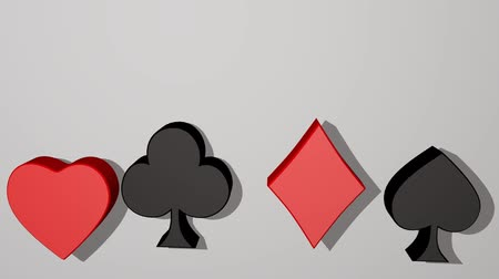 esign : Playing card suit, animated 3d card pips, red heart, red diamond, black club, black spade. Card symbols moving, rotating. Casino advertisement or business metaphora. Stock Footage