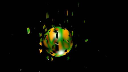 fragmented : Color sphere crumbling and exploding on black background. Colorful ball in psychedelic colors. Sci-fi animation