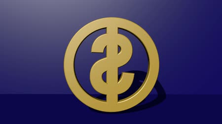 cent : 3d American dollar symbol in golden design rotating in vertical direction on dark blue background with lightning effect