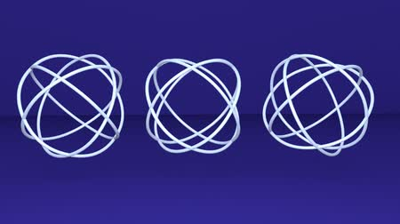 celtic : Three metallic silver sphere knotes, abstract animation, logotype rotating on dark blue background,