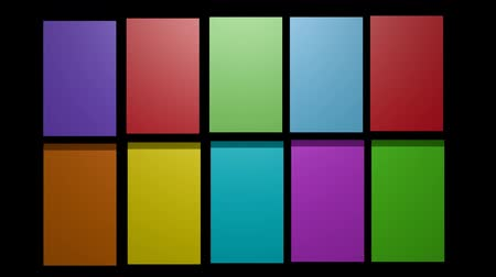 variegado : Multicolored 3d frames on black background, video background with 3d boxes rotating in horizontal and vertical axis Stock Footage