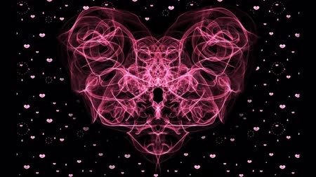 amor : red fractal heart and particle hearts on black background. Fantasy love symbol animation. Wedding background, birthday animation. Valentines day movie