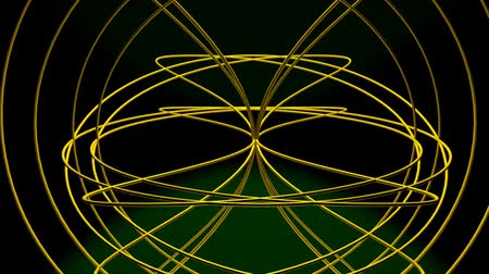 costela : Spatial spherical body, designed from gold wire, rotating about horizontal axis and making kaleidoscopic ornaments on black background with green light. Fantasy mysterious animation. Stock Footage