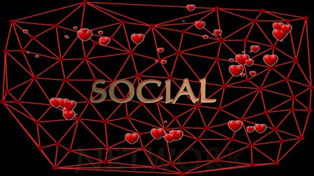 уведомление : Social network animation with cute red hearts, beating in group within red mesh, voronoi mesh on black background