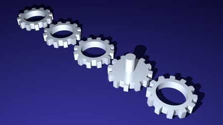 invenção : Metallic gears rotatig in diagonal area on dark blue background. Technology, engineering theme, business metaphor. Silver cogwheels with axis, 3d animation