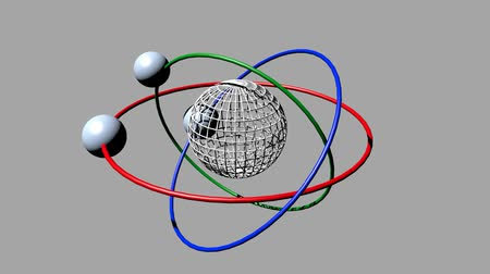 cursos : Wireframe planet model with three orbits and three satellite moons. Fantasy science animation on light gray screen. Red orbit, green orbit and blue orbit. Stock Footage