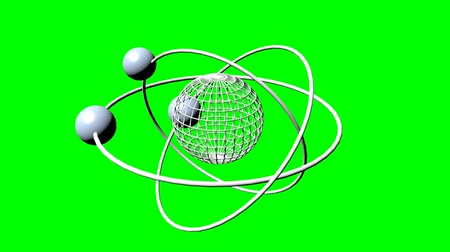 cursos : Wireframe planet model with three orbits and three satellite moons. Fantasy science animation on green screen. Green screen design with silver elements. 3d model
