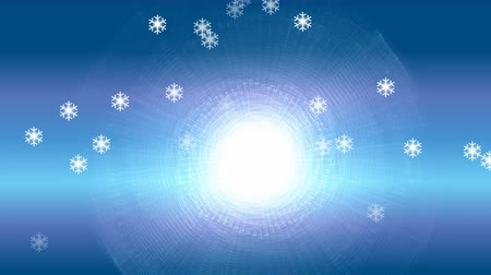 arktický : Frosty blue winter background with shimmering sun and flying snowflakes, video background in white and blue winter design, snowfall, announcement of winter vacation, winter sports Dostupné videozáznamy