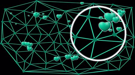 mesh : Network with hearts under magnifying glass, magnifier moving and searching heart, dating site banner, color changing video animation Stock Footage