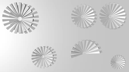 resfriar : Silver minimalist flowers gradually plotted in circular motion on light gray background, abstract low contrasting video background in 3d design