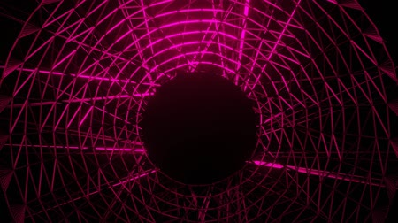 fizik : red wireframe neon glowing circle object with black hole in middle, zoom-in and zoom-out, sci-fi animation, vfx motion,
