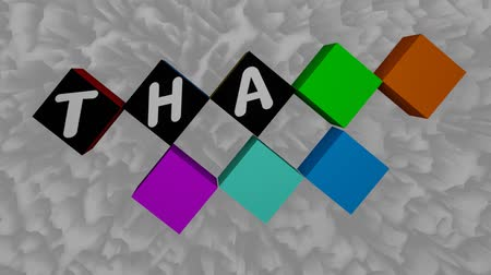 сообщений : Moving rotating multicolored cubes displays the inscription Thank you. White letters on a black background. The overall background of the video is animated as a texture in shades of gray Стоковые видеозаписи