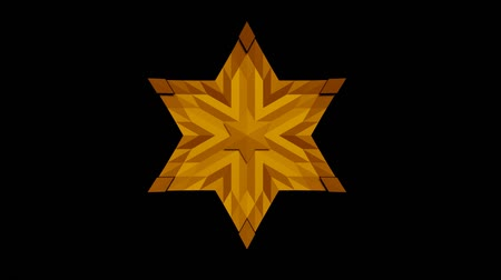 symbolismus : Davids star, animation using moving light and shadow, yellow star with the texture of mosaic polygons on a black background