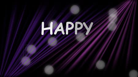 celebration : Happy birthday banner with diagonal purple beams and blurry white bokeh lights, white inscription on dark background, birthday party billboard, laser show effect Wideo