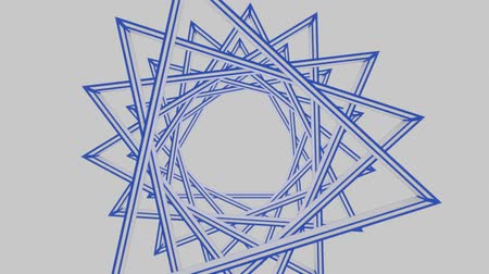 kutlama : David star composed of rotating triangles. Blue star on white background, Israel national colors. Unusual animation with morphing effect.