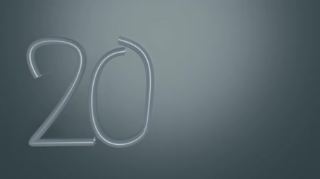 uç : Animated Year 2020, silver numbers on dark gray background, gradual painting of digits in the writing style. 3D animation, metallic number render Stok Video