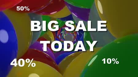 рекламный : Big sale today, announcement banner with white lettering and flashing animated percent values. Animated background composed of colorful shiny balls