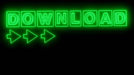 сообщений : Download banner with animated lettering in neon green design, animated arrow, exploding red object. Стоковые видеозаписи