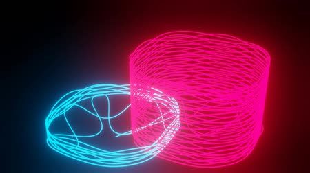 vibráló : Doodle neon 3d objects on black background. Rendering of two wire abstract object in blue and red color.